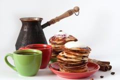 早餐咖啡薄煎饼 免版税库存图片