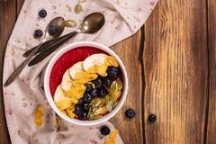 早餐圆滑的人碗 库存照片