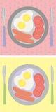早餐在桌,煎蛋,香肠上设置了 库存图片