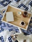 早餐在河床上 书、水罐和一杯咖啡在手工制造一个木的盘子的 在蓝色亚麻布的白色猫 图库摄影
