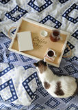 早餐在河床上 书、水罐和一杯咖啡在手工制造一个木的盘子的 在蓝色亚麻布的白色猫 库存照片