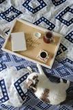 早餐在河床上 书、水罐和一杯咖啡在手工制造一个木的盘子的 在蓝色亚麻布的白色猫 库存图片