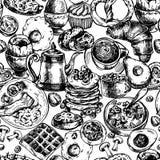 早餐对象的传染媒介葡萄酒无缝的样式,食物顶视图 向量例证