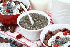早餐巧克力与酸奶和chia种子的谷物玉米片 库存照片