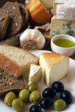 早餐干酪橄榄 免版税图库摄影