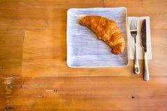 早餐新月形面包 库存照片