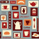 早餐无缝的样式 免版税图库摄影