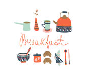 早餐时间 动画片重点极性集向量 库存图片