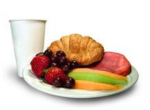 早餐杯子盛肉盘 库存照片