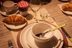 早餐桌细节在HOMI的,家国际展示在米兰,意大利 库存照片