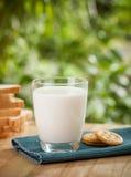 早餐概念用新鲜的鸡蛋、乳白玻璃和面包 库存图片