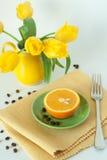 早餐水多的桔子 库存照片