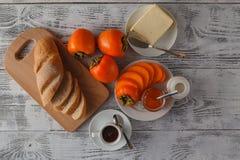早餐用柿子果酱 库存图片