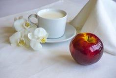 早餐用牛奶和红色苹果计算机 图库摄影