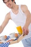 早餐藏品汁液人多士盘年轻人 免版税库存照片