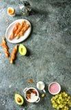 早餐设置与三文鱼和酸奶 免版税库存图片