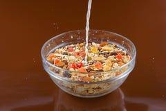 早餐谷物、燕麦粥用脯和坚果在玻璃碗和倾吐的牛奶,棕色背景 库存照片