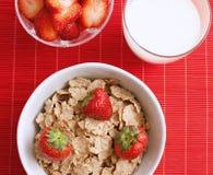 早餐食品用牛奶和草莓 图库摄影