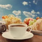 早餐,葡萄酒纸纹理 库存图片