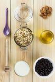 早餐:格兰诺拉麦片,酸奶,蜂蜜,在一白色backgrou的蓝莓 免版税库存照片