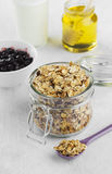 早餐:格兰诺拉麦片,酸奶,蜂蜜,在一白色backgrou的蓝莓 免版税库存图片