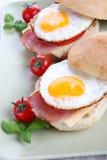 早餐-煎蛋用烟肉 库存图片