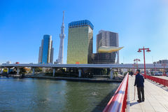 旭区啤酒塔和东京skytree是地标在asakusa城市 免版税库存图片