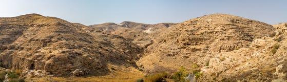 旱谷Qelt或Nahal Prat,在Judaean沙漠,以色列 免版税库存图片