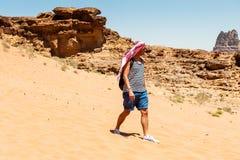 旱谷Ram沙漠,约旦 库存图片