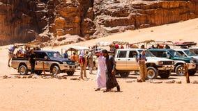 旱谷Ram沙漠,约旦 库存照片