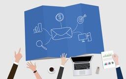 给时事通讯营销与邮件信封和目标的概念例证发电子邮件 免版税库存照片