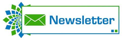 时事通讯青绿的圆箱子 库存例证