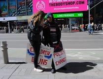 时代广场,枪枝管制3月我们的生活,政策变化, NYC, NY,美国 库存图片