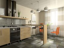 时兴的内部厨房 免版税库存照片