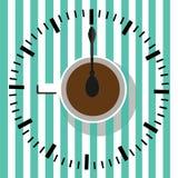 时刻喝咖啡 手表 咖啡杯例证 库存例证