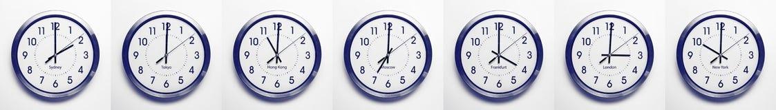 时区时钟 免版税库存图片