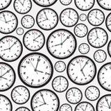 时区黑白时钟无缝的样式 免版税库存照片