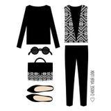 时尚例证 妇女现代衣物集合 时髦和时髦衣物 免版税图库摄影