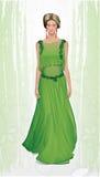 时尚例证绿色礼服的丝毫女孩 免版税库存图片