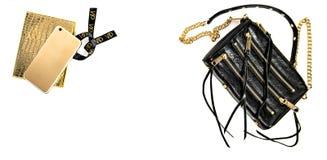 时尚嘲笑与企业夫人辅助部件 背景袋子概念行程购物的白人妇女 免版税库存图片