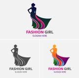 时尚女孩商标模板 库存图片