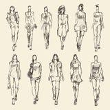 时尚女孩得出的传染媒介例证剪影  免版税库存照片
