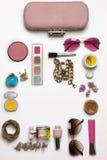 时尚妇女静物画 女性时尚化妆用品 库存图片