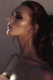 年轻时尚妇女面孔魅力画象与金黄明亮的晚上补偿党和被晒黑的皮肤 温暖定调子 reuben 库存照片