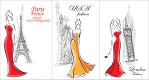 时尚妇女,旅行背景 免版税库存照片