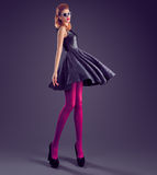 时尚妇女,魅力衣服饰物之小金属片礼服 党成套装备 免版税库存照片