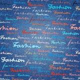 时尚字法在牛仔裤牛仔布织品纹理的 库存例证