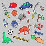 时尚徽章,补丁,贴纸男孩题材 玩具、体育、汽车和音乐记录器在可笑的样式 免版税库存图片