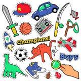 时尚徽章,补丁,贴纸男孩题材 玩具、体育、汽车和音乐记录器 库存照片