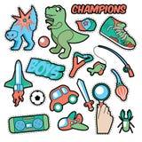 时尚徽章,补丁,贴纸男孩题材 玩具、体育、汽车和音乐记录器 库存图片